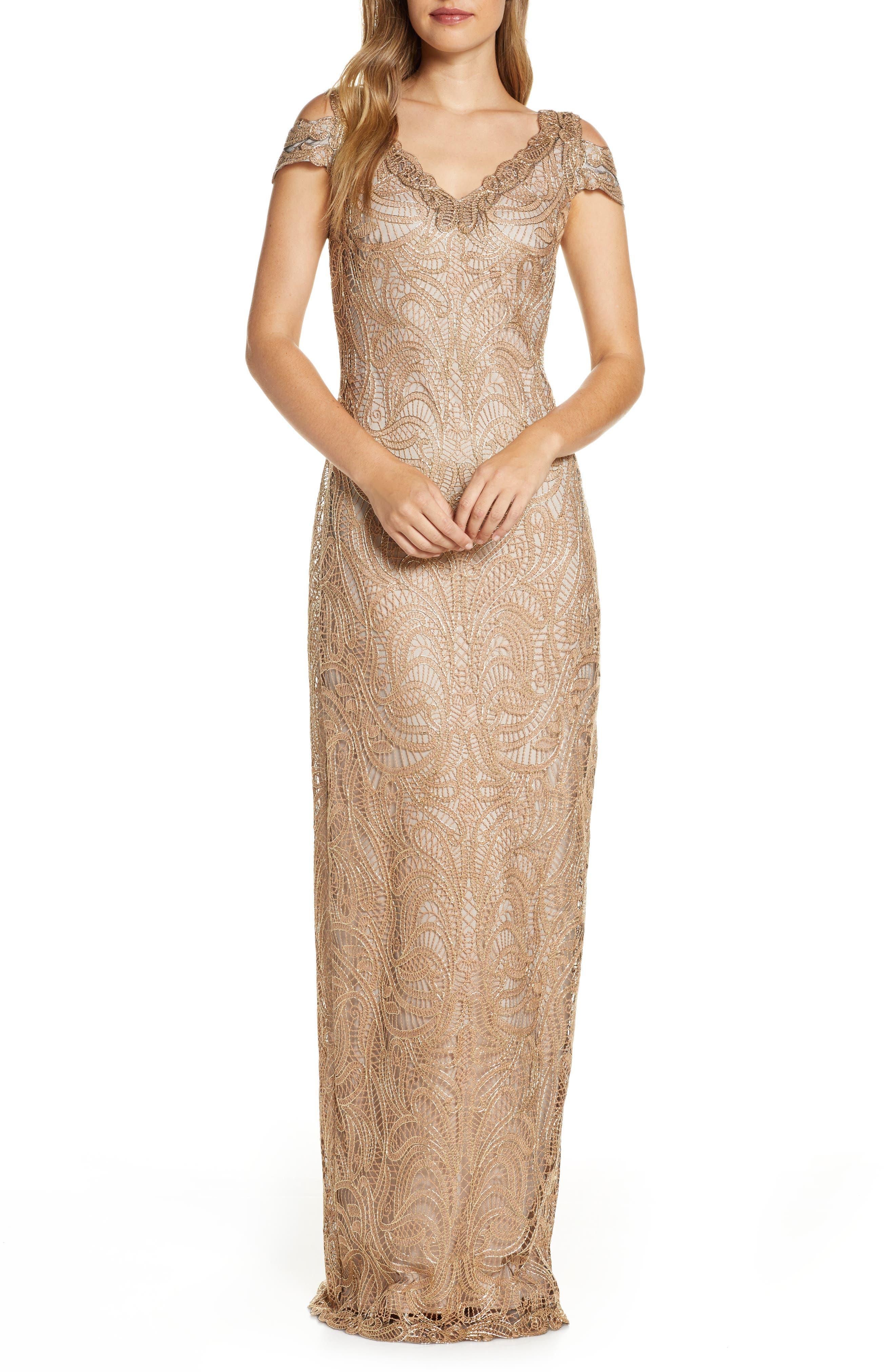 Titanic Dresses & Costumes   1912 Dresses Womens Tadashi Shoji Cold Shoulder Lace Column Gown $308.00 AT vintagedancer.com