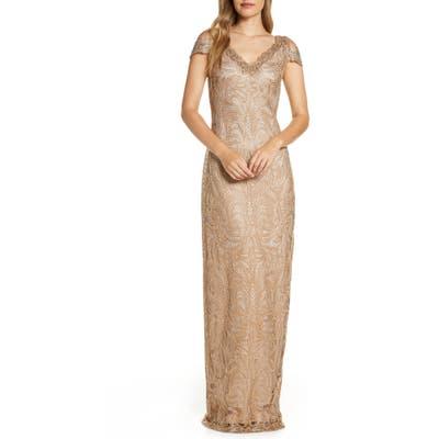 Tadashi Shoji Cold Shoulder Lace Column Gown, Metallic
