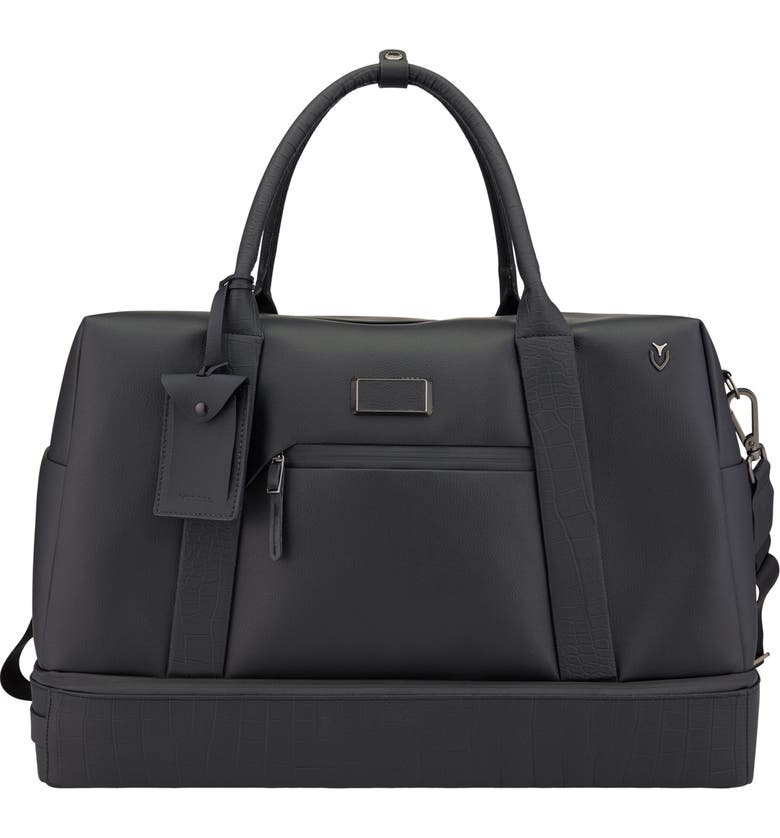 VESSEL Signature 2.0 Boston Faux Leather Duffle Bag, Main, color, PEBBLED/ CROC BLACK