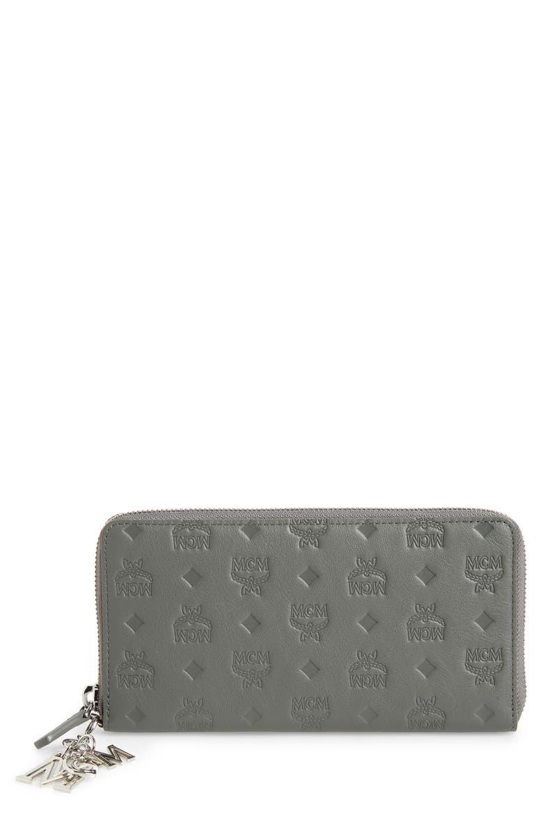 MCM Klara Leather Zip Wallet, Main, color, CHARCOAL