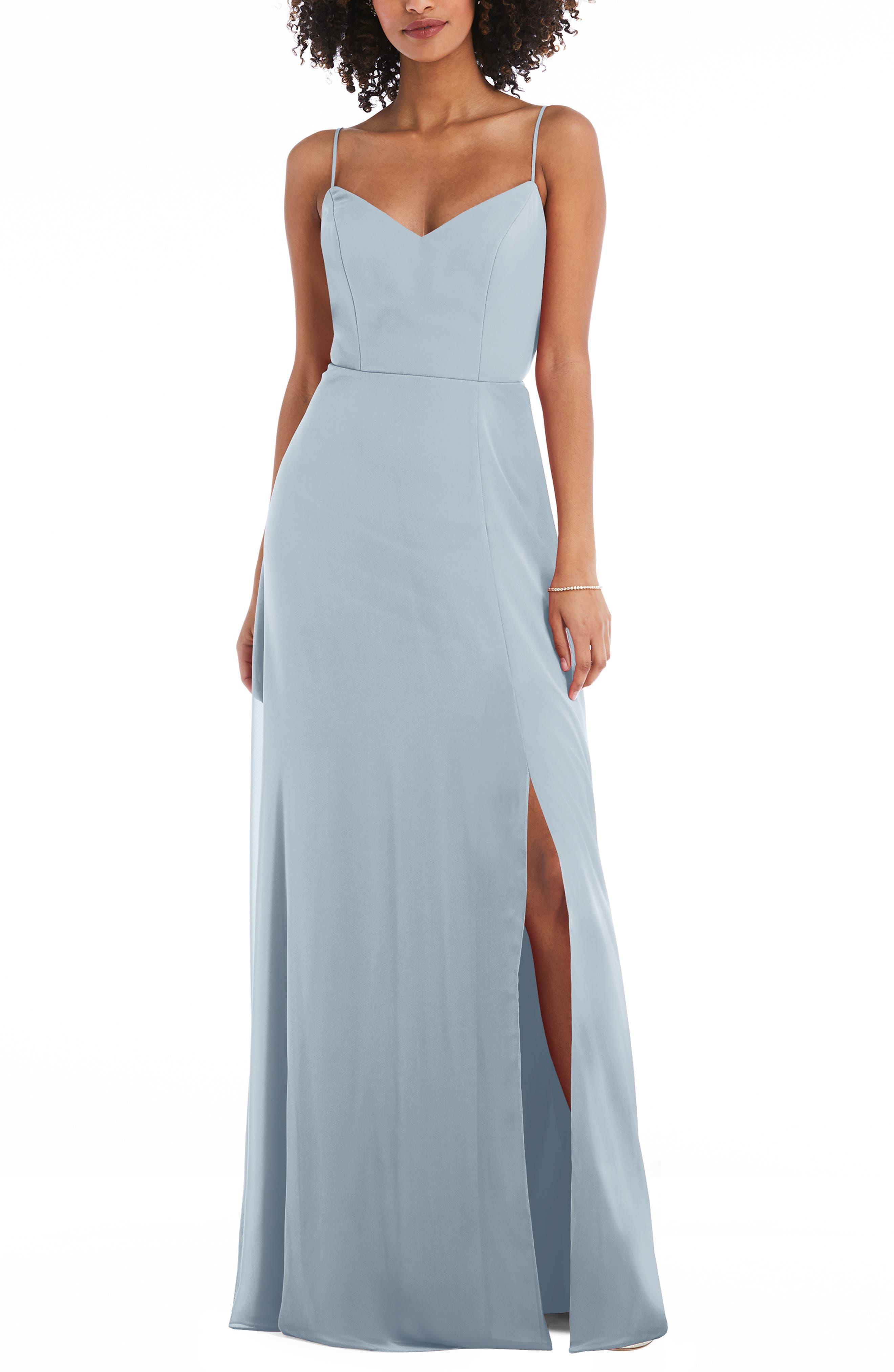 Tie Back Cutout Chiffon Gown