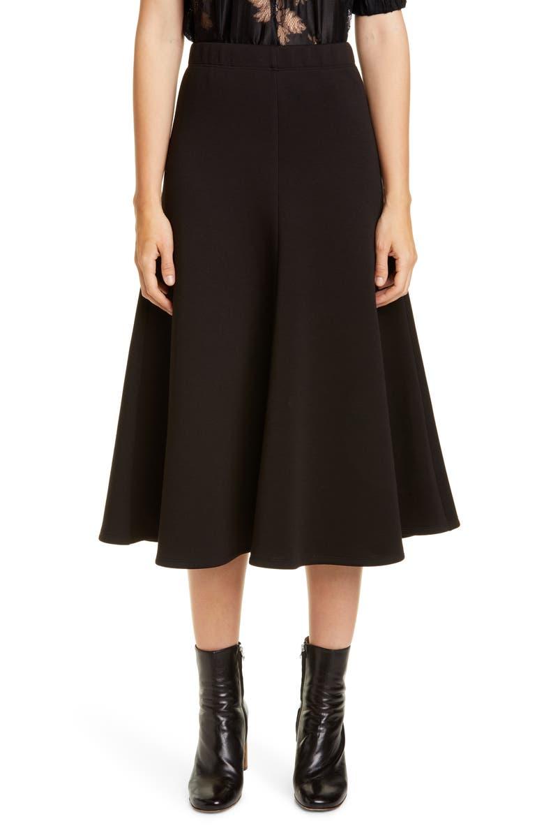 BEAUFILLE Curie Neoprene Midi Skirt, Main, color, BLACK