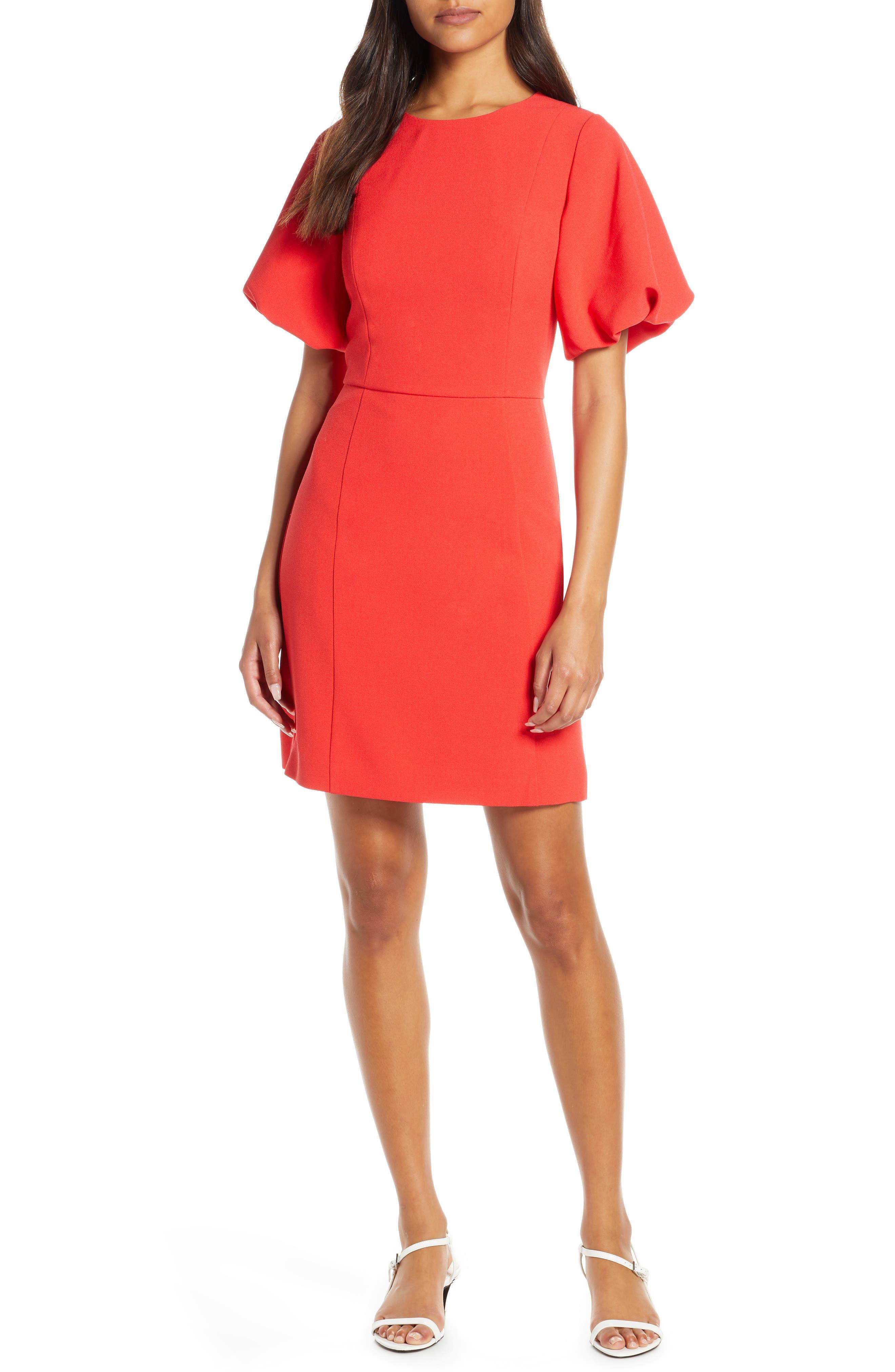 Eliza J Oversize Puff Sleeve Crpe Fit & Flare Dress, Red