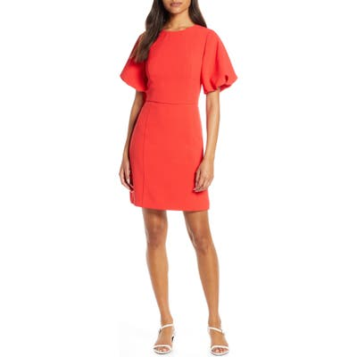 Eliza J Oversize Puff Sleeve Crepe Fit & Flare Dress, Red