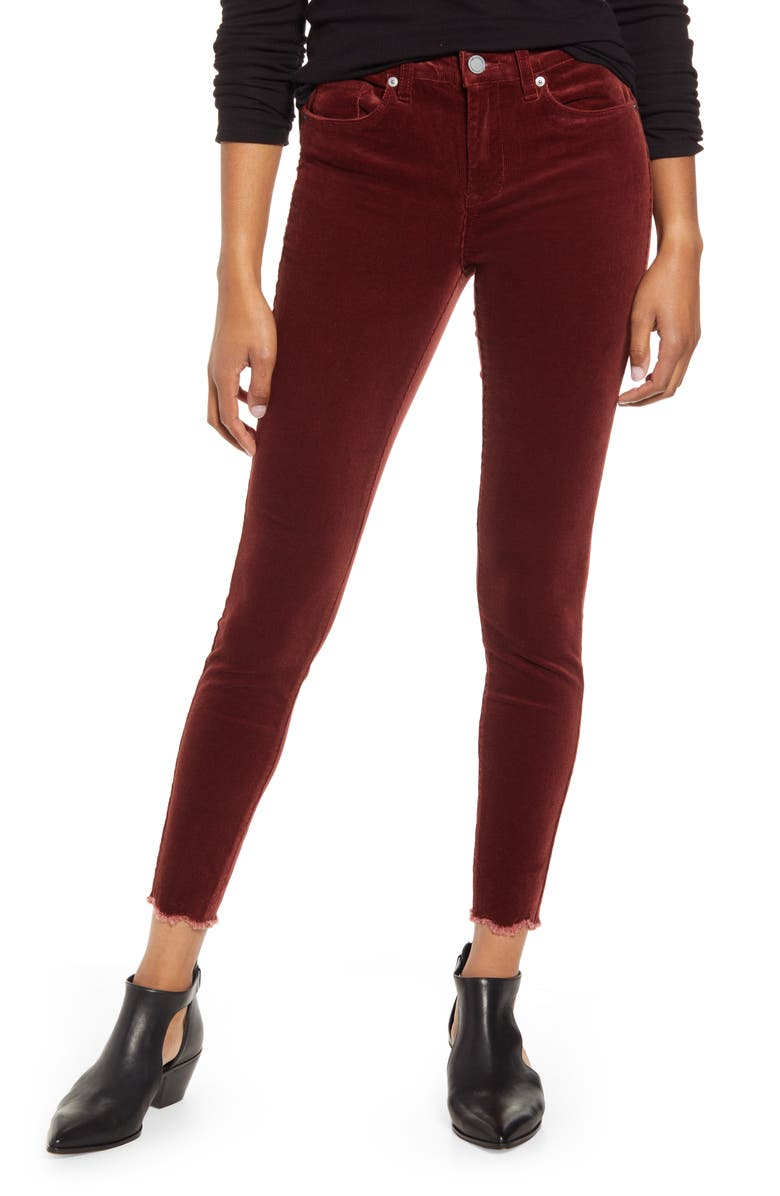 BLANKNYC Claret Madison Crop Cord Pants, Main, color, 930