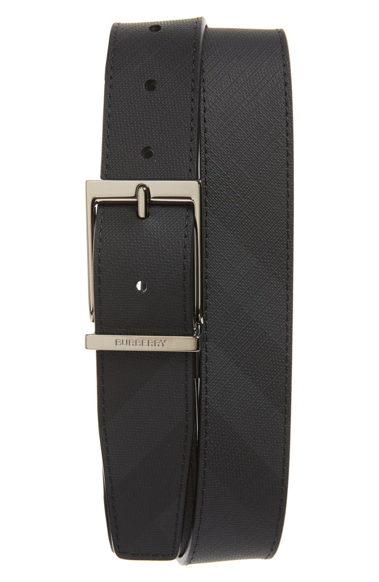 BURBERRY Clarke Belt, Main, color, DARK CHARCOAL/ BLACK