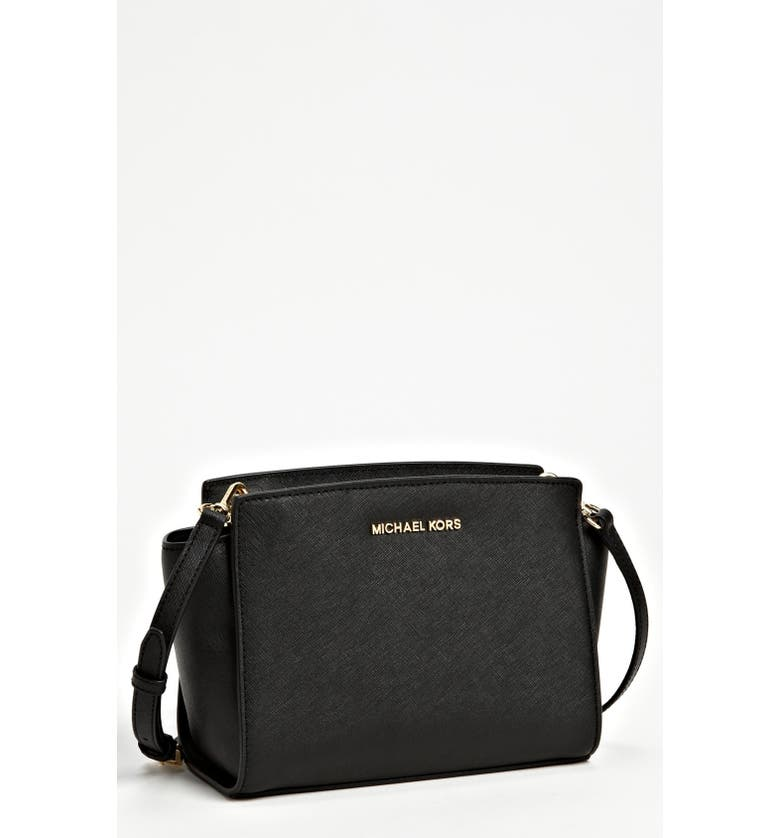 MICHAEL MICHAEL KORS 'Medium Selma' Saffiano Leather Crossbody Bag, Main, color, 001
