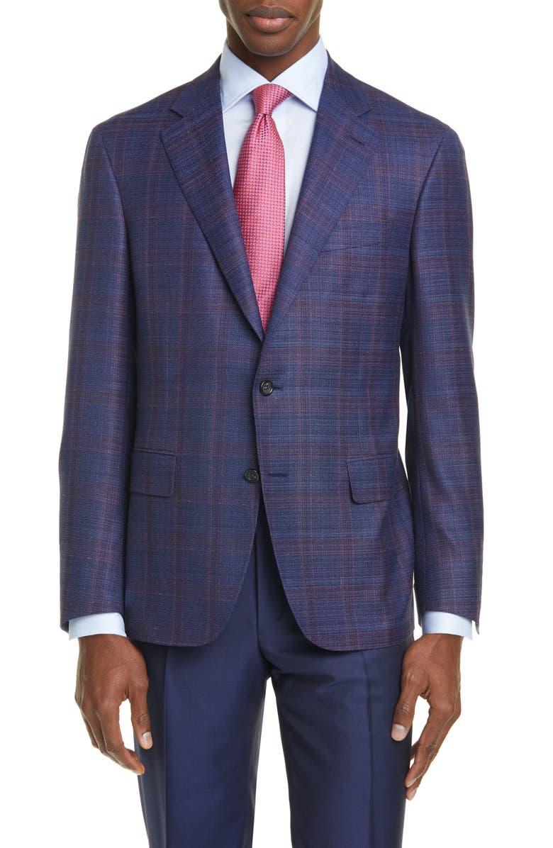 CANALI Kei Classic Fit Windowpane Plaid Wool Sport Coat, Main, color, BLUE