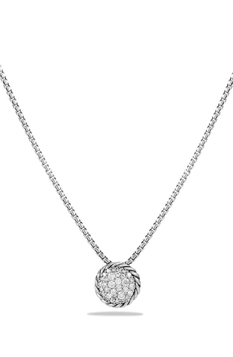 DAVID YURMAN 'Châtelaine' Pavé Pendant Necklace with Black Diamonds, Main, color, DIAMOND
