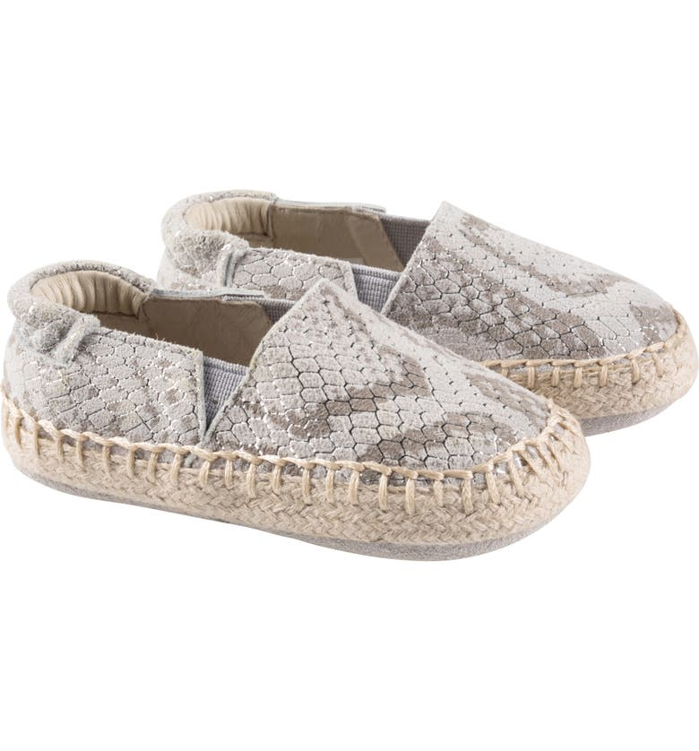 ROBEEZ<SUP>®</SUP> Ellie Espadrille Crib Shoe, Main, color, SNAKESKIN