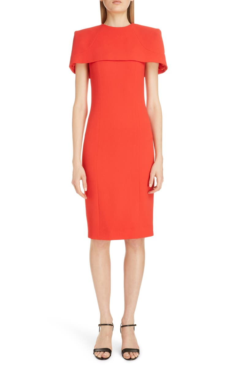 GIVENCHY Wool Sheath Dress with Removable Cape, Main, color, RED