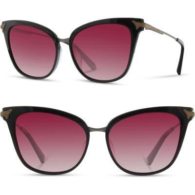 Shwood Arlene 5m Polarized Cat Eye Sunglasses - Black/ Gunmetal/ Rose Fade