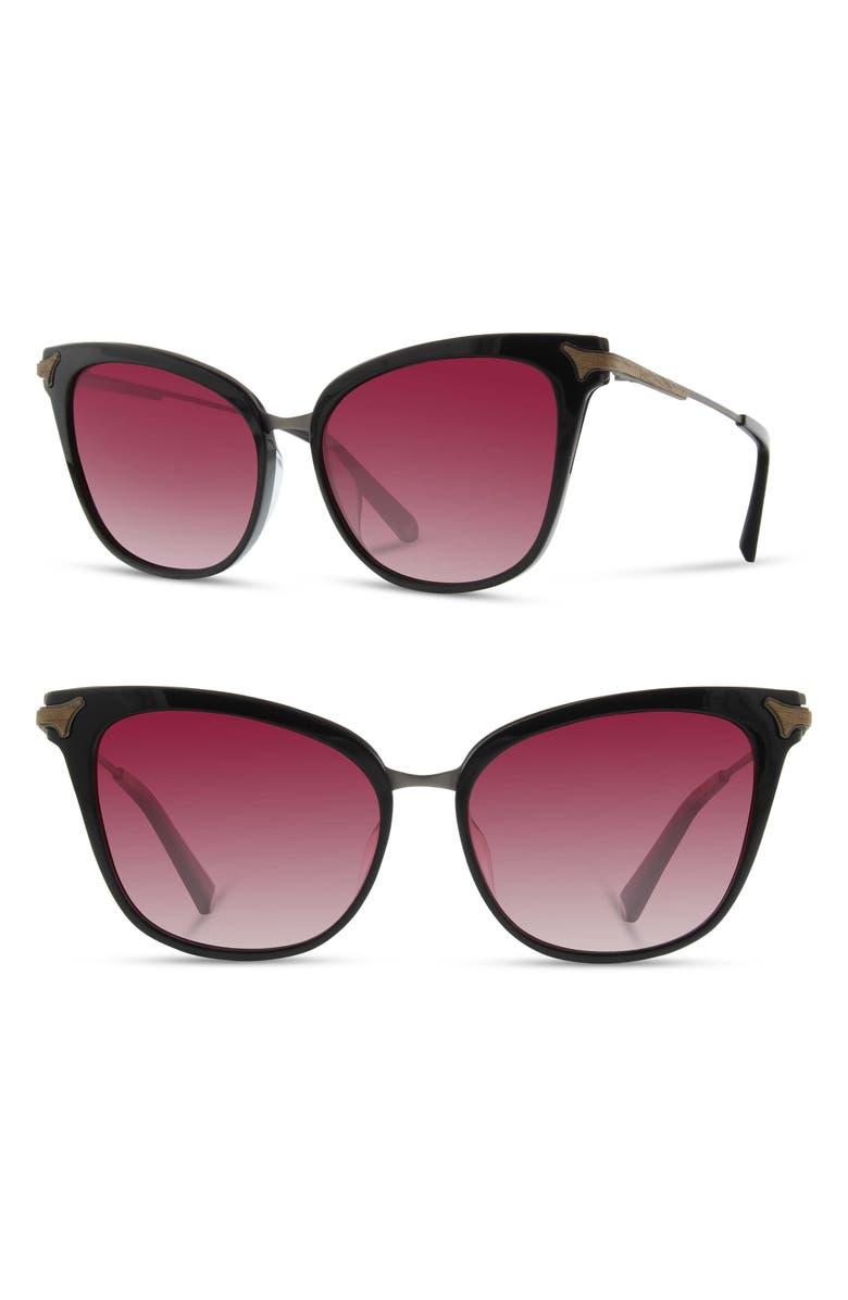 SHWOOD Arlene 56mm Polarized Cat Eye Sunglasses, Main, color, BLACK/ GUNMETAL/ ROSE FADE