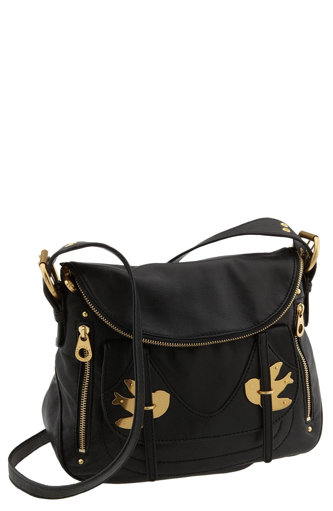 MARC BY MARC JACOBS 'Petal to the Metal - Natasha' Flap Crossbody Bag, Medium, Main, color, 001