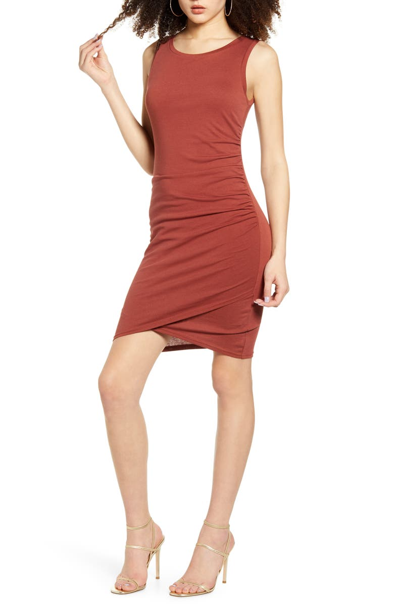 LEITH Ruched Body-Con Tank Dress, Main, color, BROWN HENNA