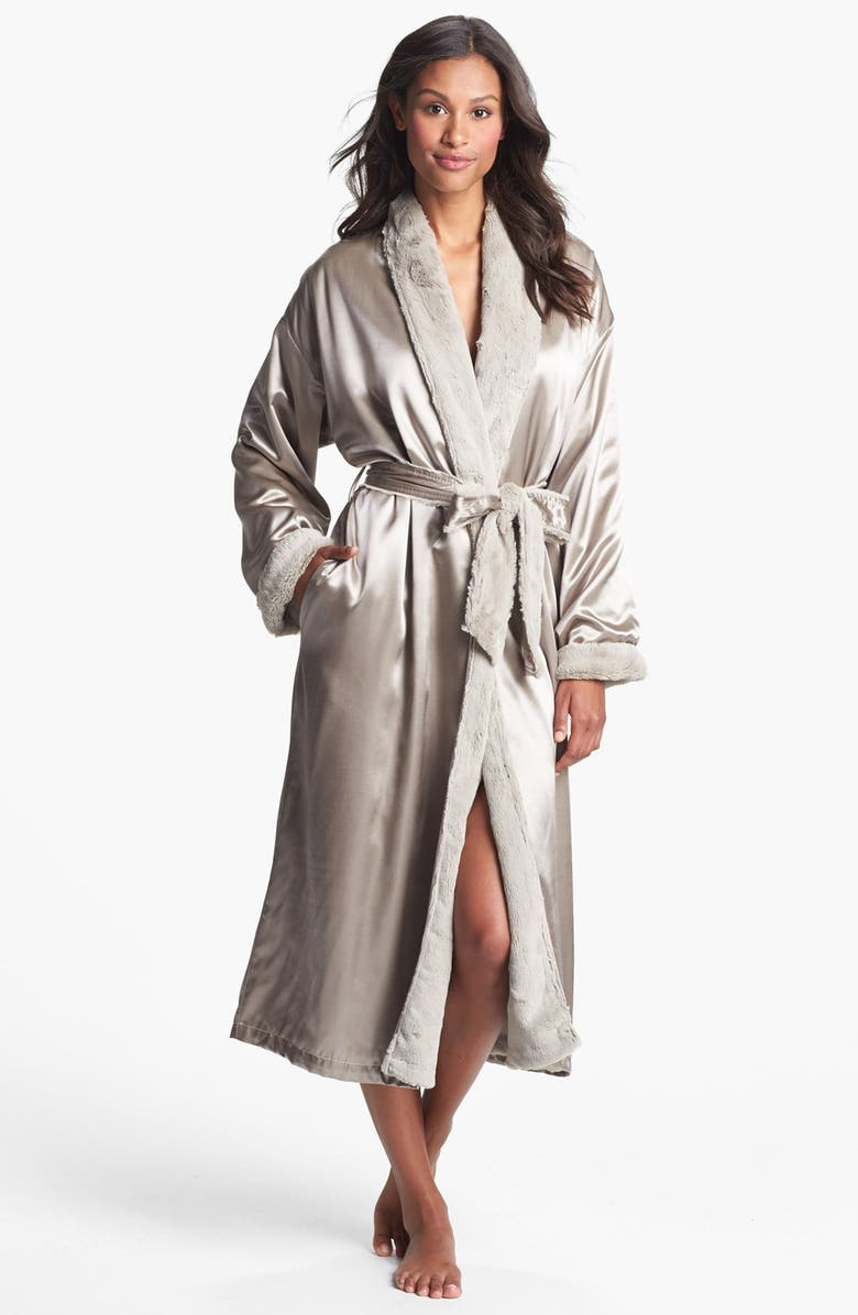 GIRAFFE AT HOME Faux Fur & Satin Robe, Main, color, FLAX