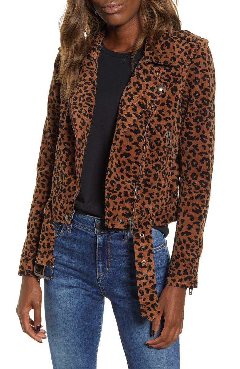 BLANKNYC Jungle Cat Corduroy Moto Jacket, Main, color, LEOPARD