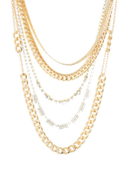 Image of CRISTABELLE Rhinestone 5-Row Layered Chain Necklace