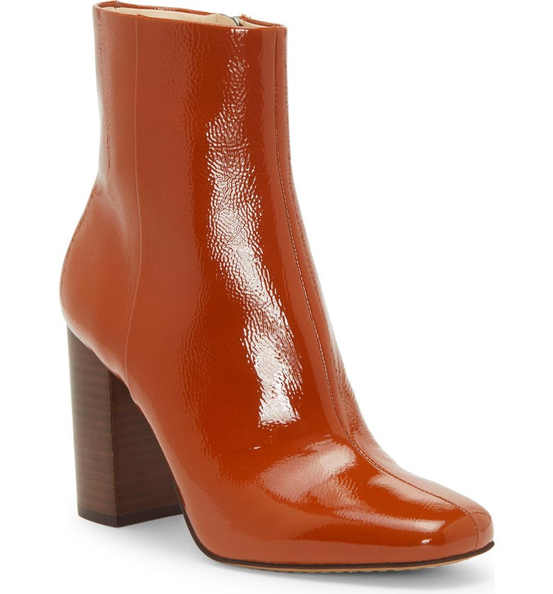 VINCE CAMUTO Dannia Bootie, Main, color, RUSTY ORANGE PATENT LEATHER