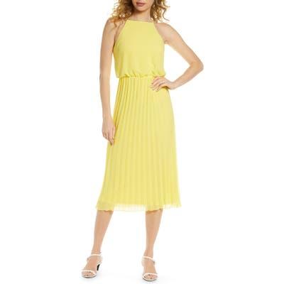 Sam Edelman Pleated Chiffon Midi Dress, Yellow