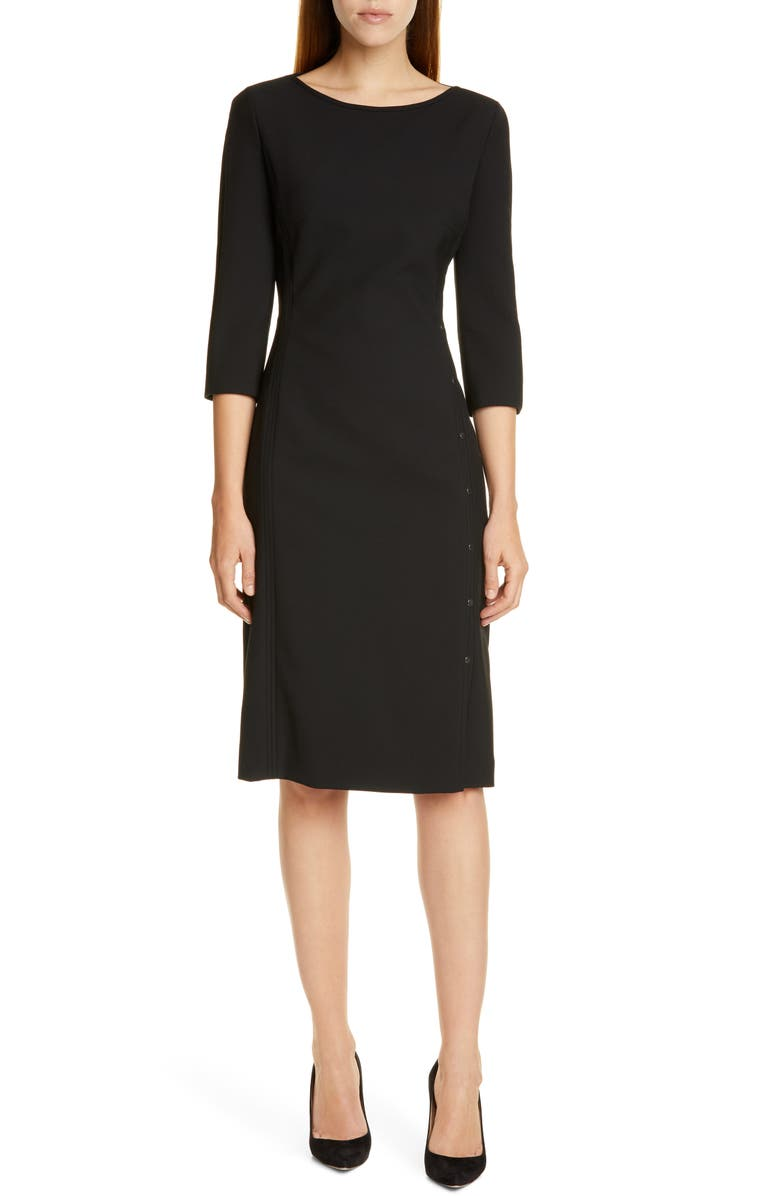 BOSS Dikena Ponte Sheath Dress, Main, color, BLACK
