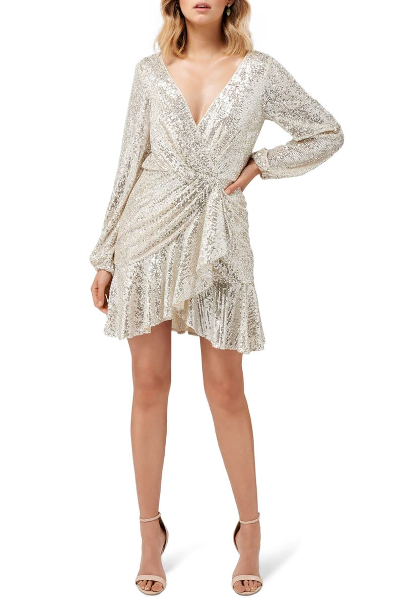 EVER NEW Flip Sequin Long Sleeve Cocktail Dress, Main, color, 040