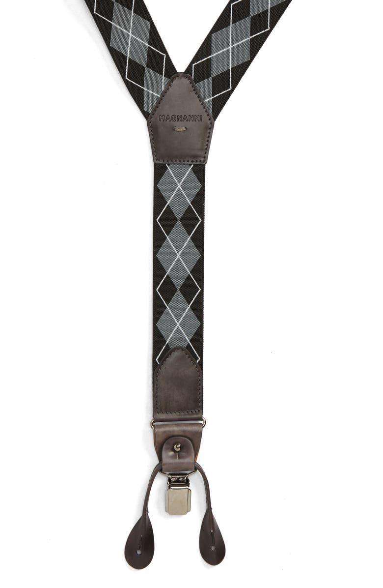 MAGNANNI Raleigh Suspenders, Main, color, GREY / BLACK
