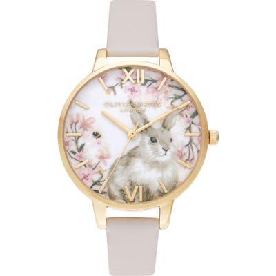 Olivia Burton Pretty Blossom Faux Leather Strap Watch,