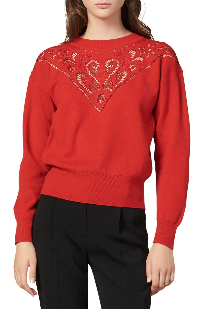 SANDRO Ardor Lace Yoke Wool Blend Sweater, Main, color, RED