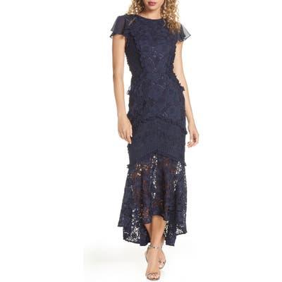 Chi Chi London Crochet & Lace Flounce Sleeve Dress, Blue