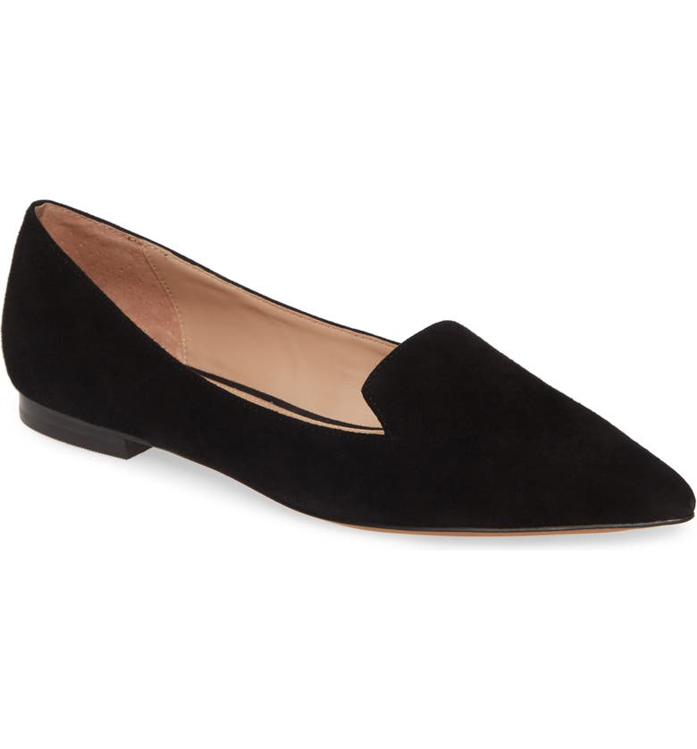 LINEA PAOLO Portia Studded Loafer, Main, color, BLACK/BLACK SUEDE