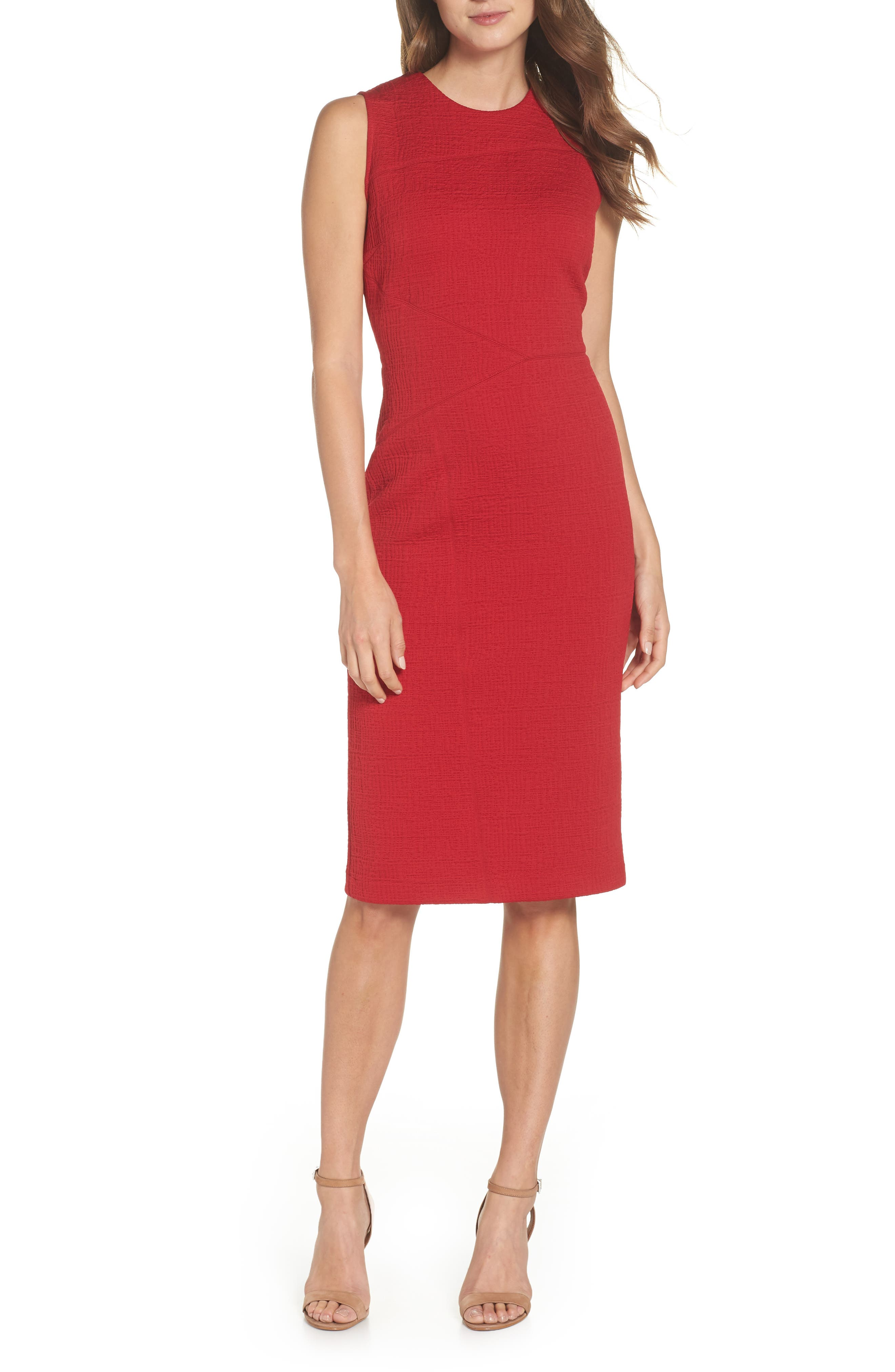 Forest Lily Jacquard Sheath Dress, Red