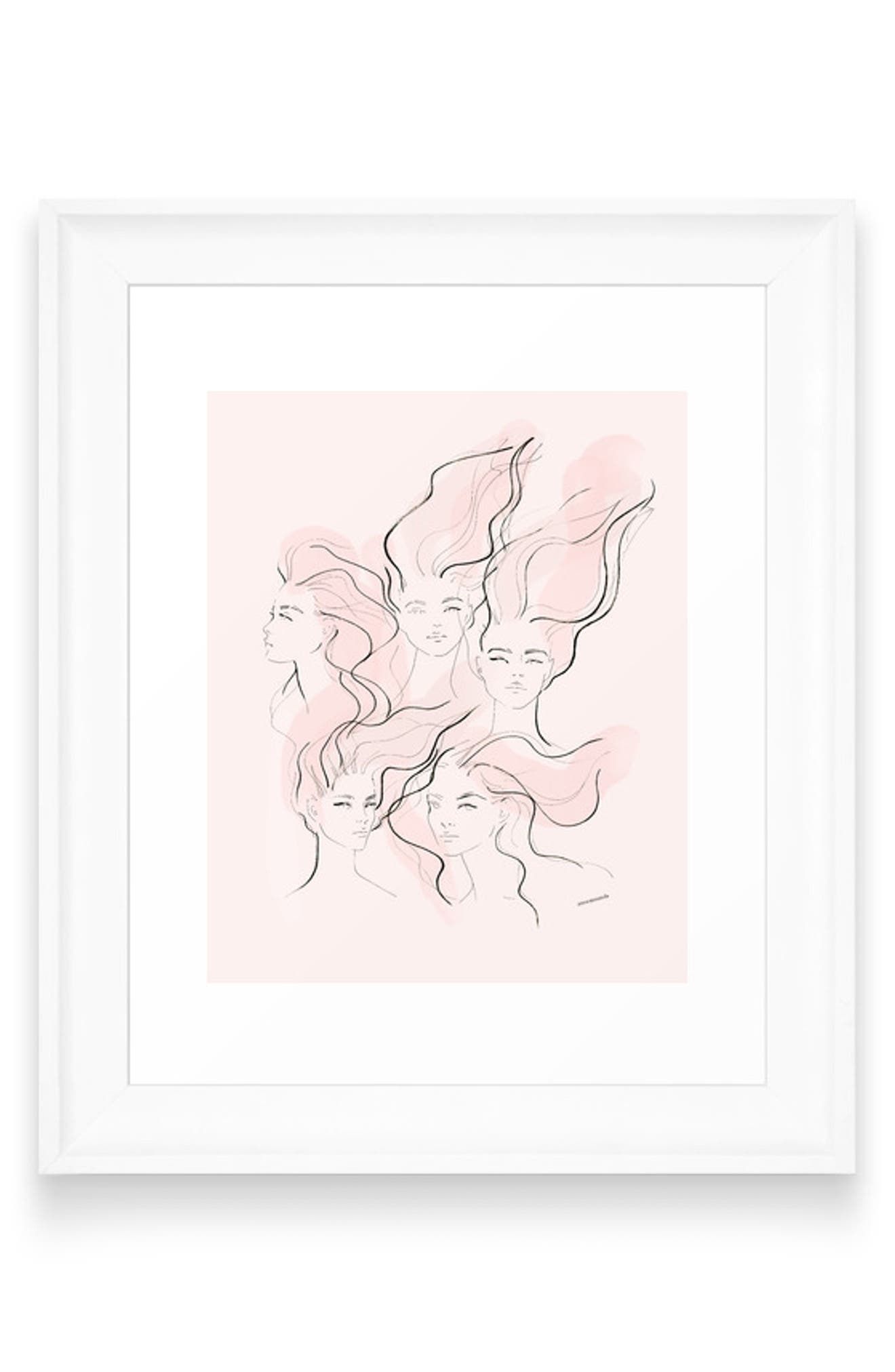 Graceful sketched faces with flowing tendrils make this an enchanting piece of wall art for the bathroom or a living-room collage. Style Name: Deny Designs Anne Amanda Not Smiling Framed Wall Art. Style Number: 5988125. Available in stores.