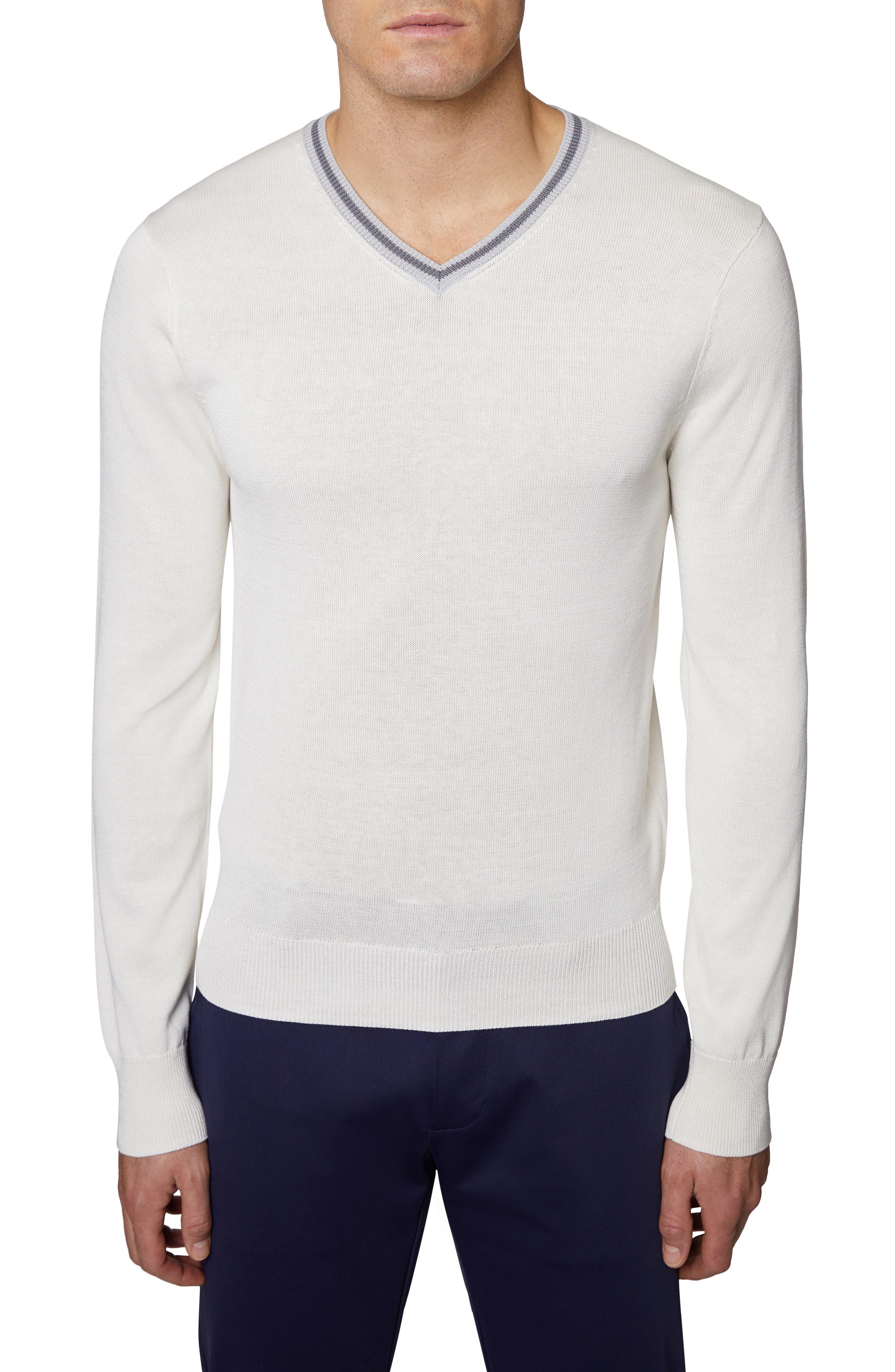 Hickey Freeman V-Neck Silk & Cotton Sweater, White