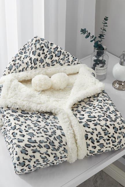 Image of Chic Home Bedding Chanda Leopard Print Snuggle Hoodie Blanket - Grey