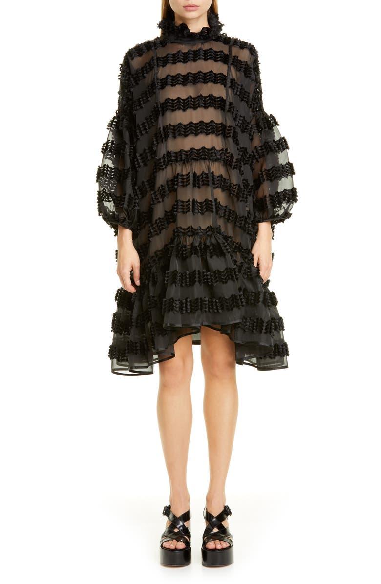 CECILIE BAHNSEN Belle Stripe Fil Coupé Organza Trapeze Dress, Main, color, BLACK/ BLACK
