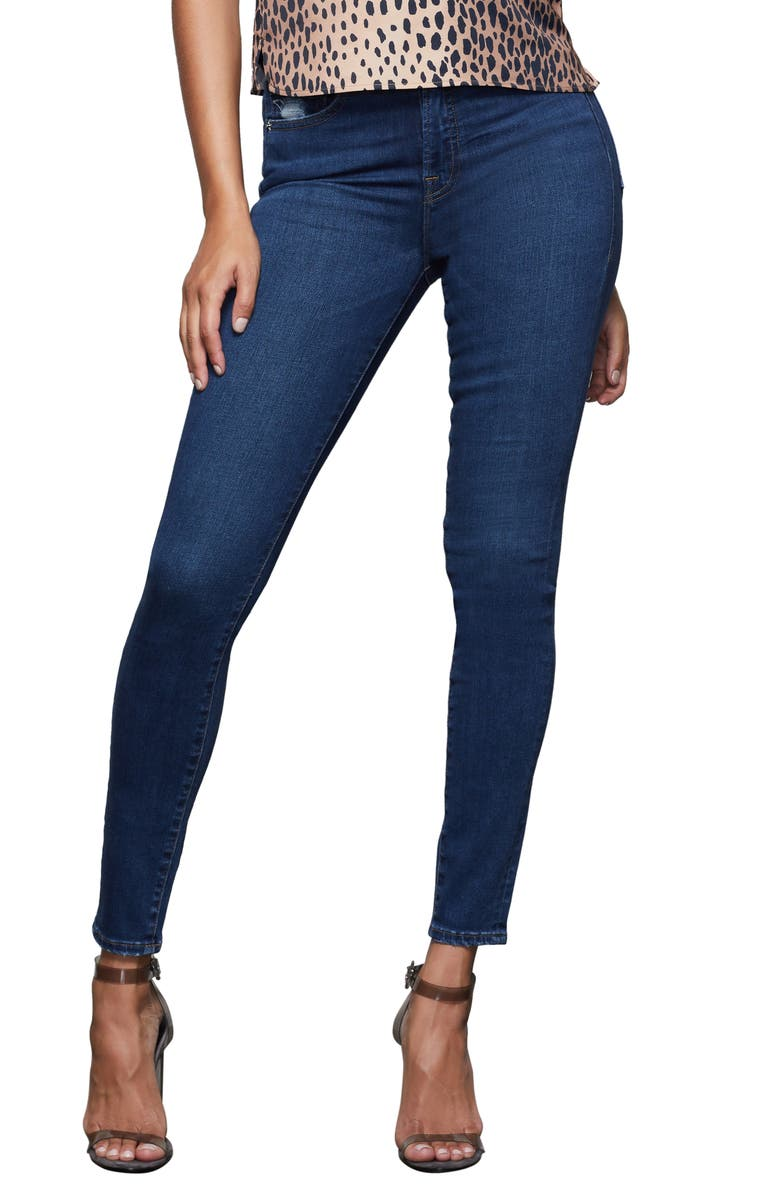 GOOD AMERICAN Good Waist High Waist Extreme V Skinny Jeans, Main, color, BLUE