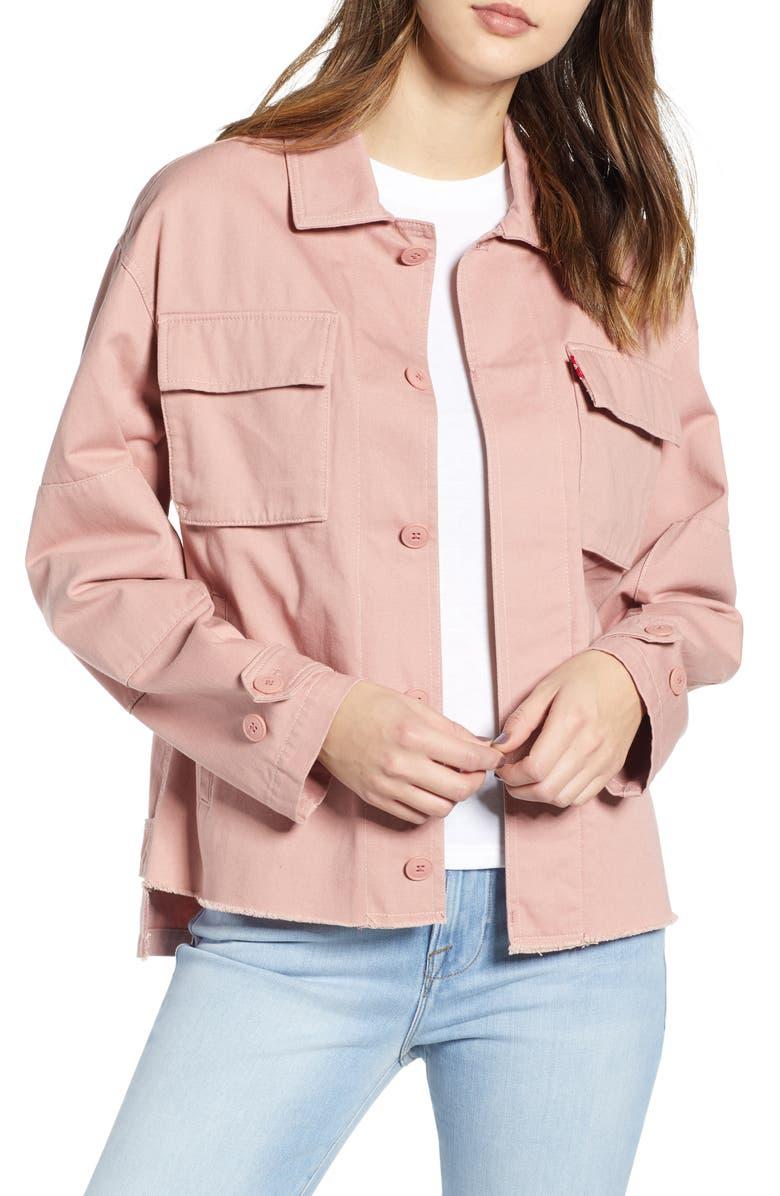 LEVI'S<SUP>®</SUP> Oversize Cotton Canvas Camo Shirt Jacket, Main, color, ROSE