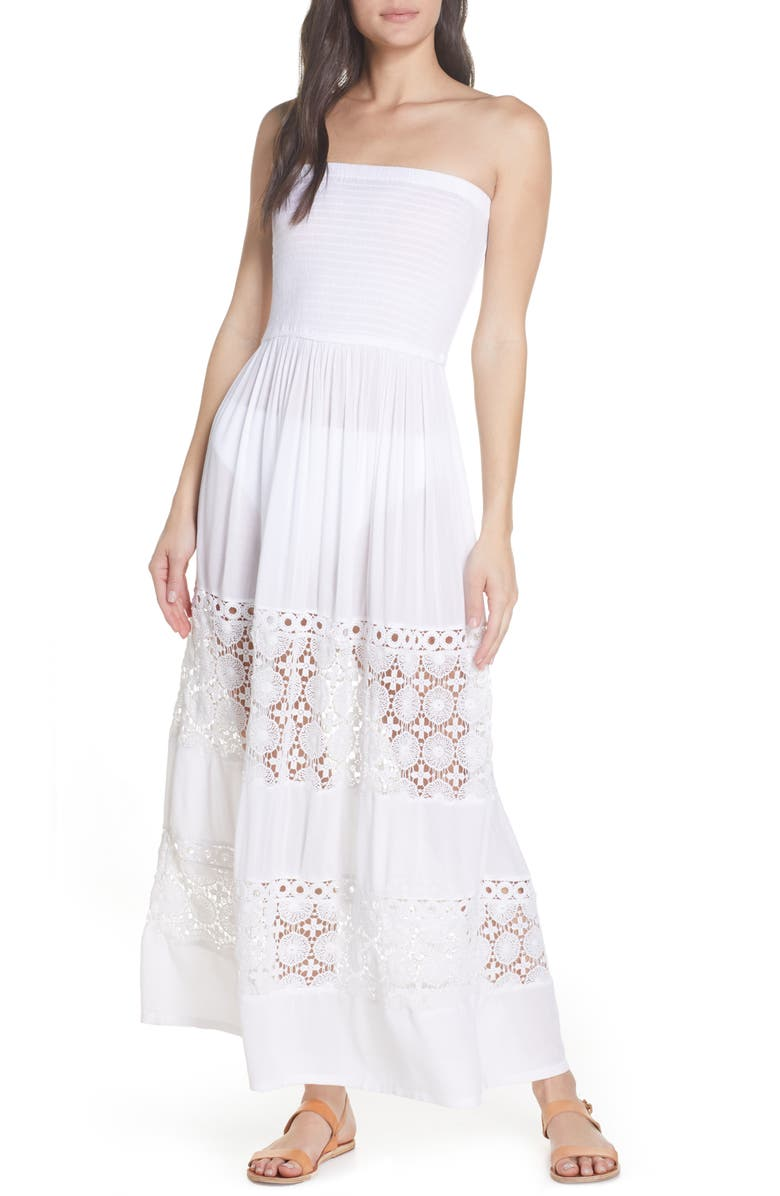 CHELSEA28 Farrah Smocked Cover-Up Maxi Dress, Main, color, WHITE