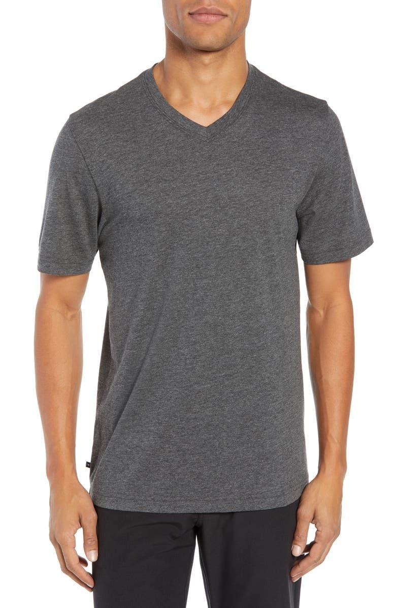 TRAVISMATHEW Talk to Me V-Neck T-Shirt, Main, color, HEATHER DARK GREY