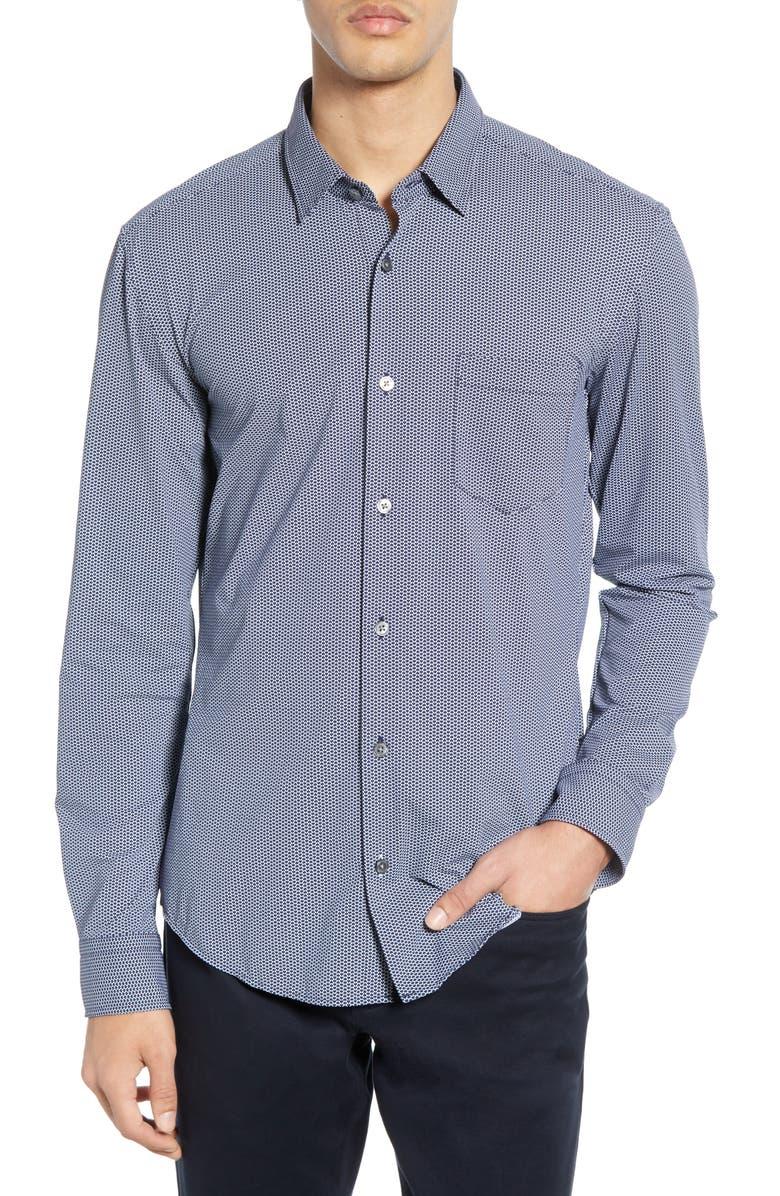 BOSS Ronni Slim Fit Micro Print Performance Sport Shirt, Main, color, 480