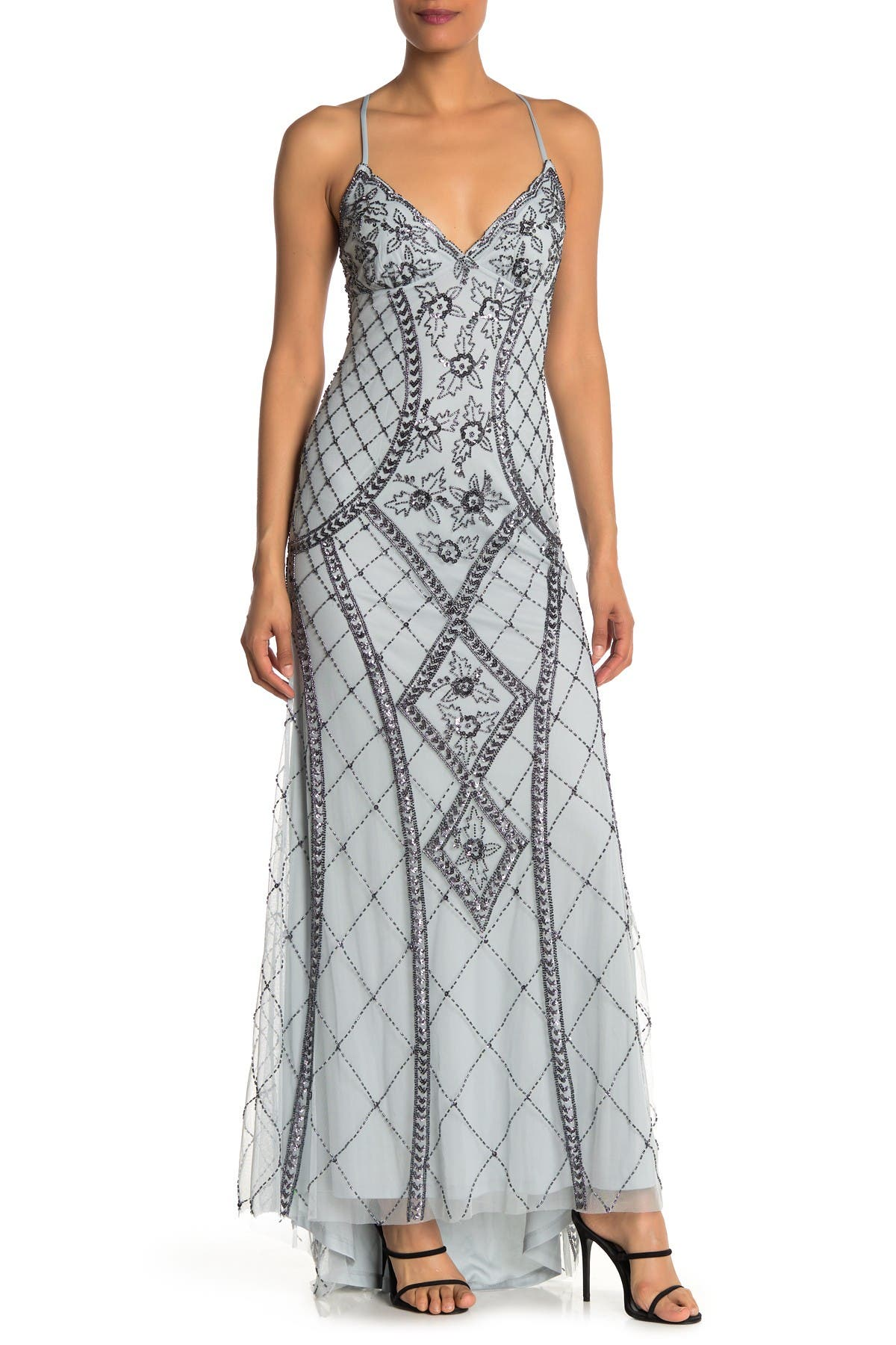 Image of JUMP Embellished Beaded High/Low Long Gown