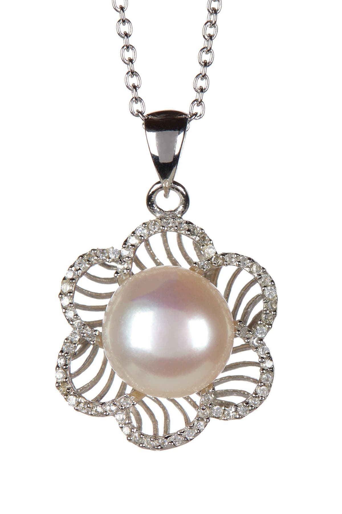 Image of Splendid Pearls 9-10mm White Cultured Freshwater Pearl & CZ Flower Pendant Necklace