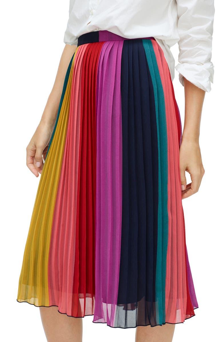 Sunburst Rainbow Colorblock Pleated Midi Skirt by J.Crew