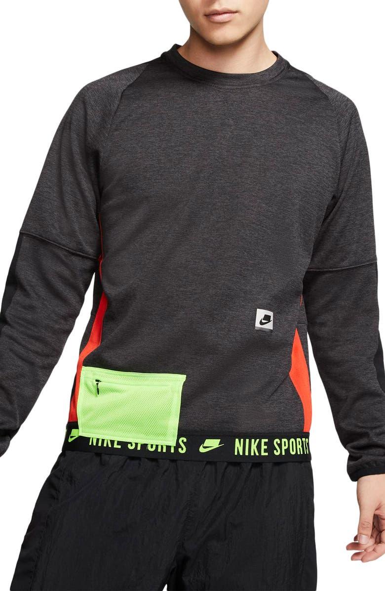 NIKE Therma Long Sleeve Shirt, Main, color, BLACK HEATHER/ BLACK