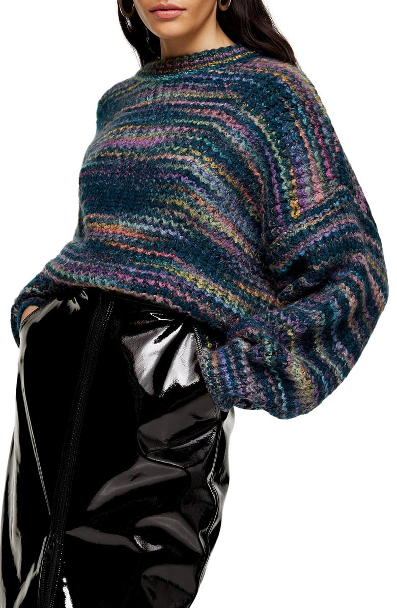 TOPSHOP Space Dye Sweater, Main, color, 440