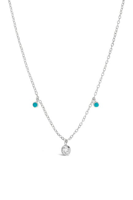 Image of Sterling Forever Sterling Silver Green Enamel & CZ Charm Necklace