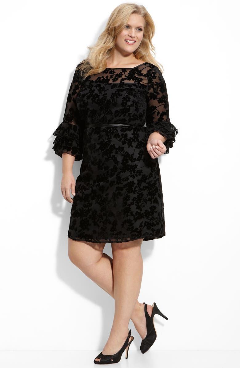 ELIZA J Burnout Lace Shift Dress, Main, color, Black