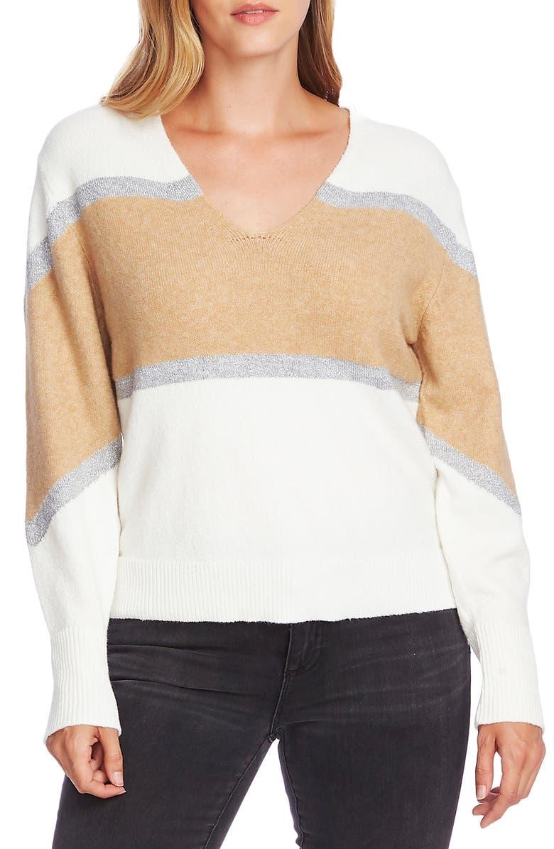 VINCE CAMUTO Bishop Sleeve Colorblock V-Neck Sweater, Main, color, ANTIQUE WHITE