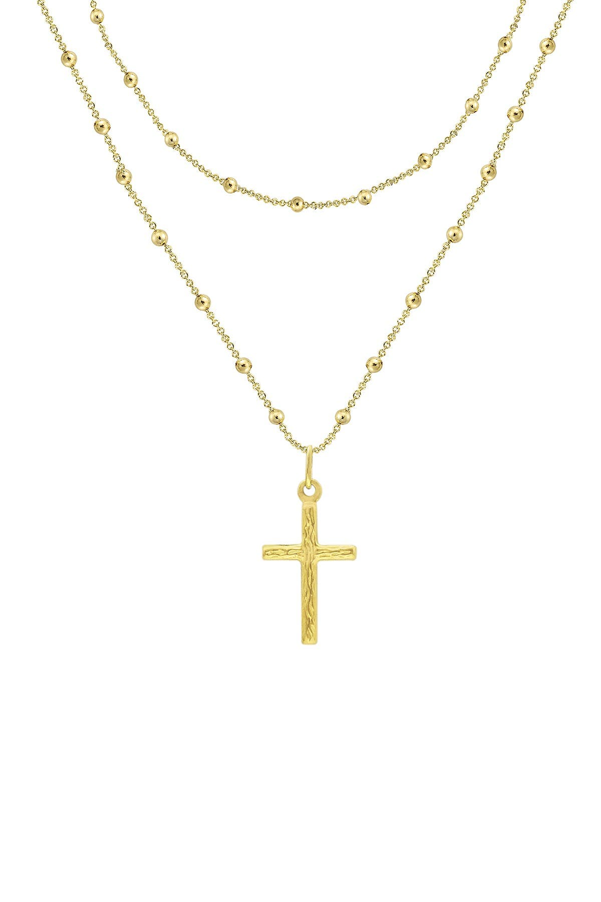 Image of Savvy Cie 14K Yellow Gold Vermeil Italian Rosary Bead Layer Necklace